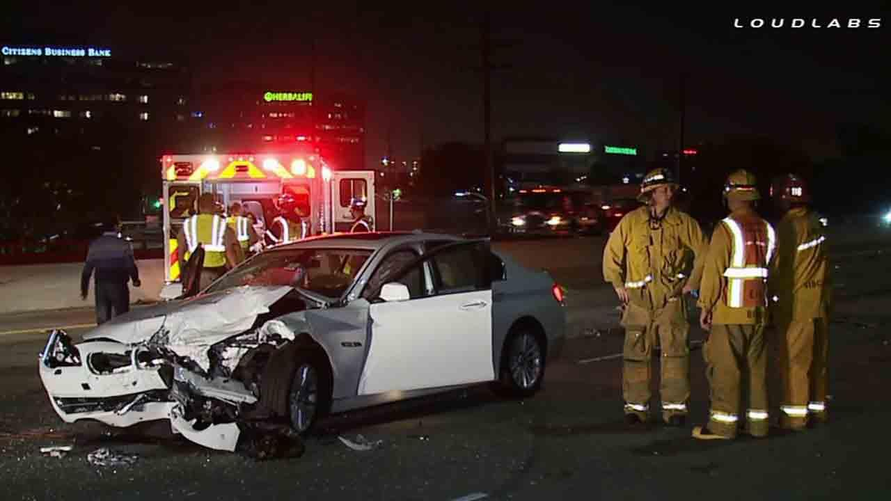 A woman was killed in an accident on the northbound 405 Freeway, just north of the 110 Freeway Sunday, April 20, 2014.
