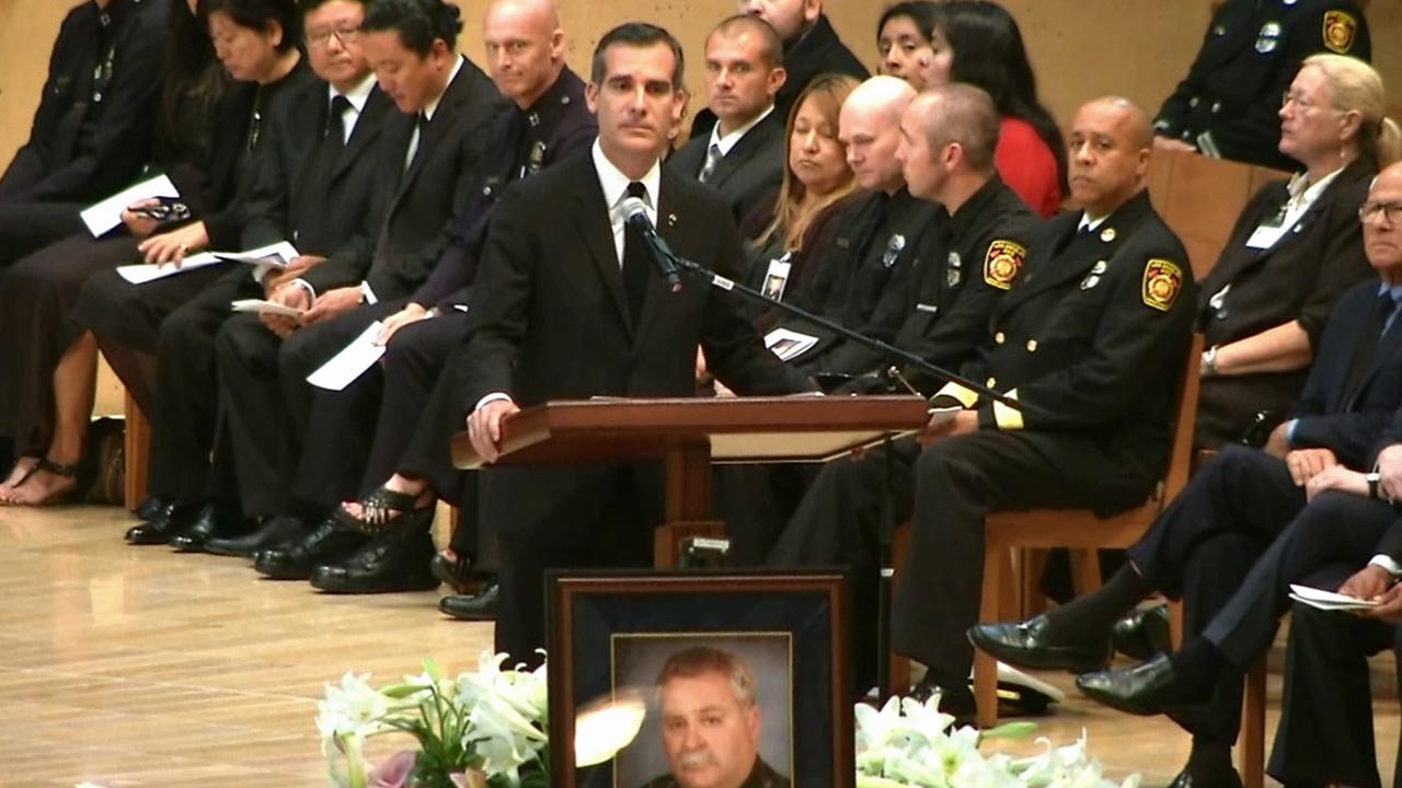 Los Angeles Mayor Eric Garcetti called Chris Cortijo a guardian angel of Los Angeles during Cortijos funeral on Tuesday, April 22, 2014.