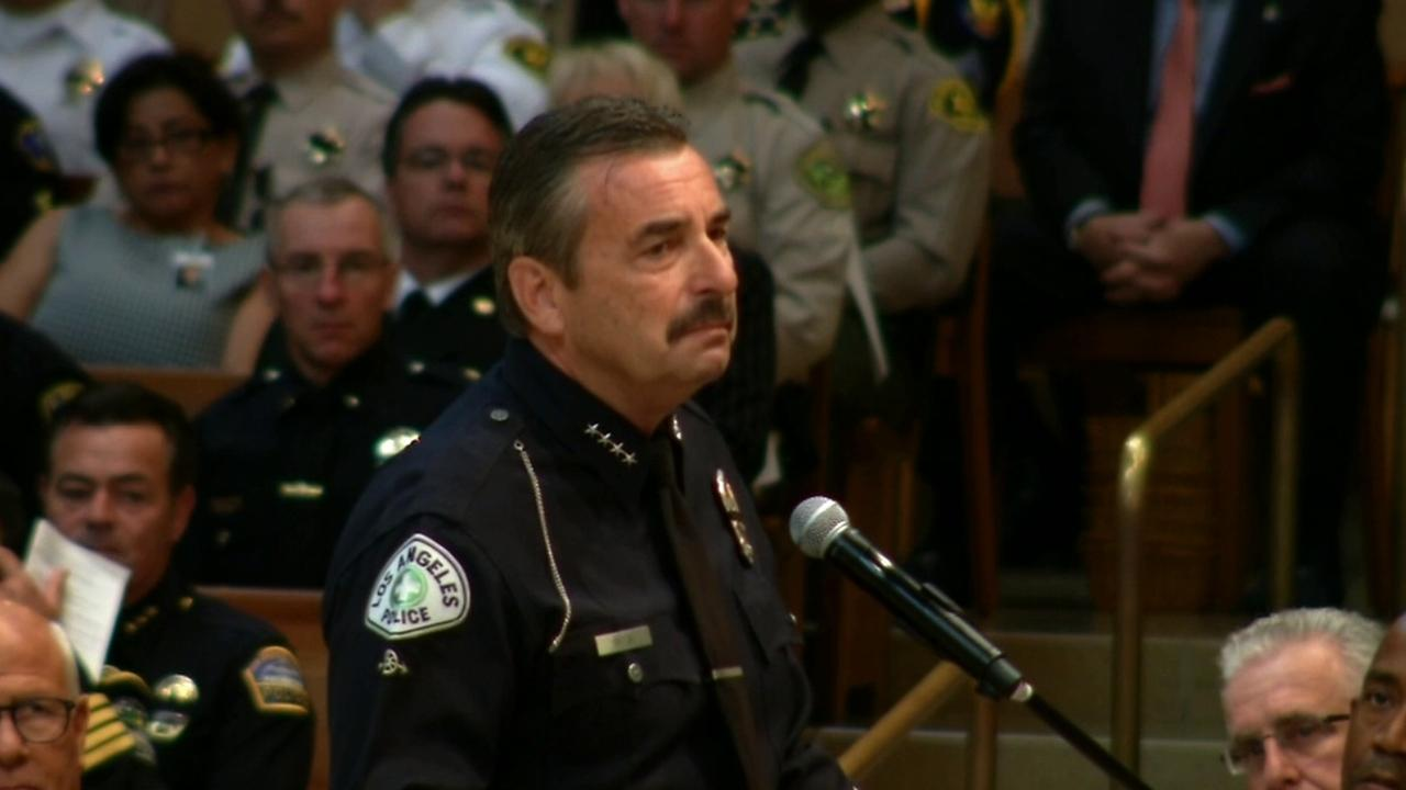 Los Angeles Police Chief Charlie Beck wore a motorcycle cop uniform on Tuesday, April 22, 2014 in honor of fallen Officer Chris Cortijo, who died while on duty.