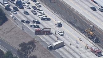 A tractor-trailer collision forced the closure of the eastbound 210 Freeway at Allen Avenue in Pasadena Thursday afternoon.