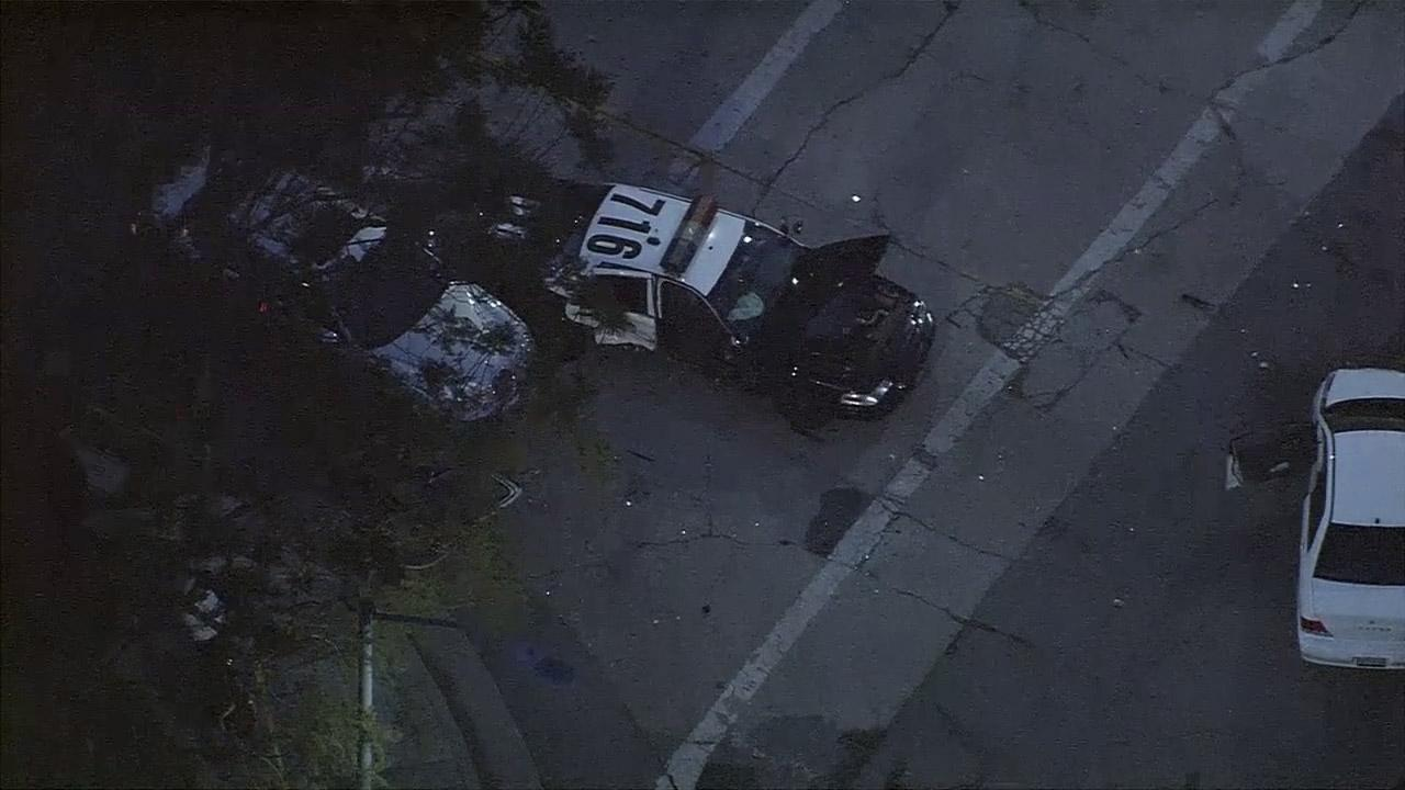 An officer-involved traffic collision occurred at Selby Avenue and Wilshire Boulevard in West Los Angeles on Friday, May 9, 2014.