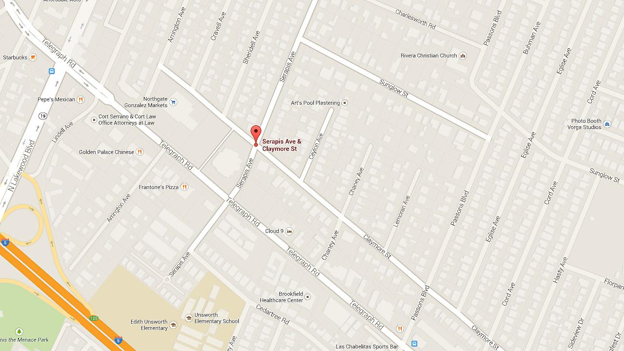 A map shows the intersection of Claymore Street and Serapis Avenue in Pico Rivera.