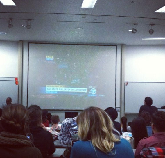A classroom is seen watching ABC7 for information during a search for two possibly armed suspects on the California State University Fullerton campus on Wednesday, Dec. 12, 2012. <span class=meta>(instagram.com&#47;p&#47;TKIJvBrm0X&#47;)</span>