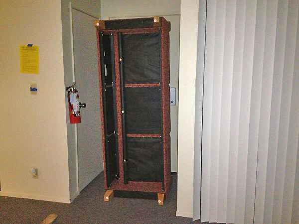 CSUF students barricaded the door to their dorm with a couch during a search for two possibly armed suspects on campus on Wednesday, Dec. 12, 2012. <span class=meta>(twitter.com&#47;karinalynnkho)</span>