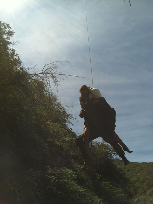 "<div class=""meta ""><span class=""caption-text "">Rescuers are seen loading up missing hiker Kyndall Jack on Thursday, April 4, 2013. (Los Angeles County Search and Rescue Reserve Deputy Doug Cramoline)</span></div>"