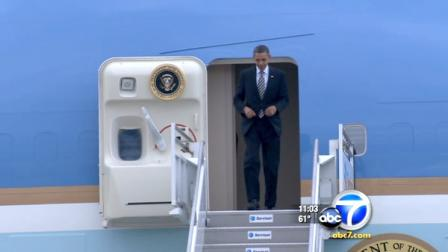 President Barack Obama wrapped up his Southern California trip on Thursday with a visit to Orange County.