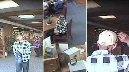 Images of the suspect who robbed a Seal Beach U.S. Bank branch is shown in surveillance video still images.