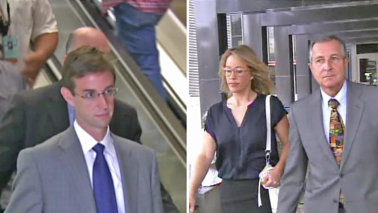 Kent Easter (left) and Jill Easter (right) are seen leaving their first court appearance in Santa Ana on Monday, July 16, 2012.