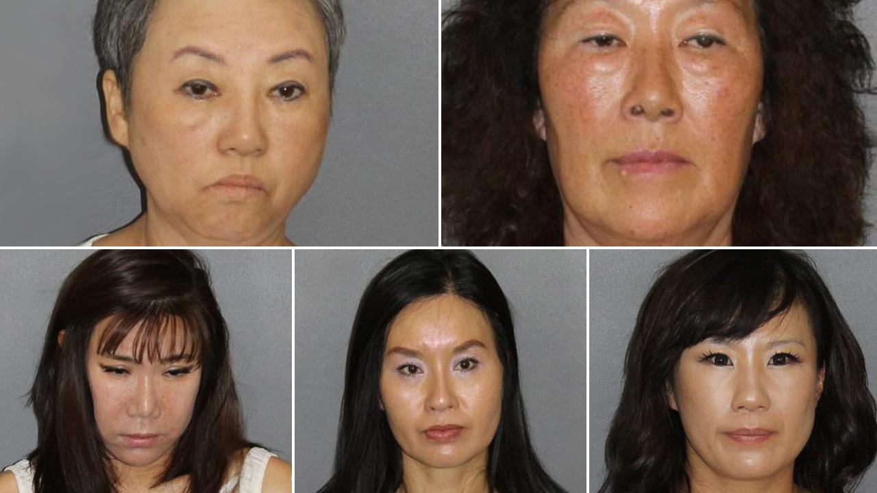 (Left to right, top to bottom) Soon Keun Kim, Chong Suk Yi, Mee Hwa Shin, In Sook Kim, Eun Yong Park are shown in booking photos provided by the Irvine Police Department.