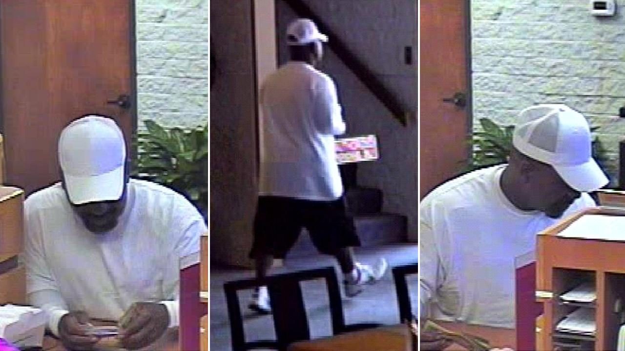 Surveillance images show the suspect responsible for holding up a Bank of the West branch in Huntington Beach on Tuesday, Aug. 21, 2012.