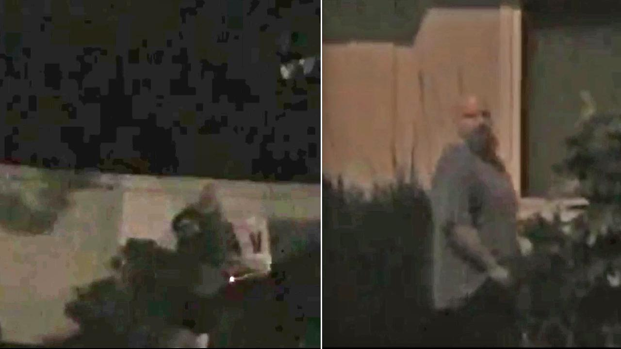 This split image shows a man taking down Measure V signs in Costa Mesa (left) and the same man glancing across the street after taking the signs down (right). He is wanted for vandalizing campaign signs in the city.