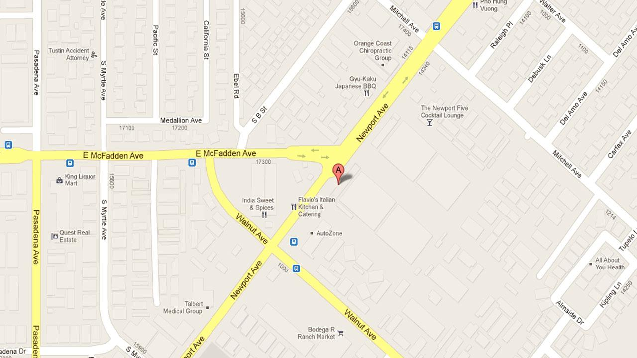 A map indicates the area in the 14400 block of Newport Avenue in Tustin where police responded to a call of a disturbance in which the suspect was armed with a handgun Saturday, Nov. 17, 2012.