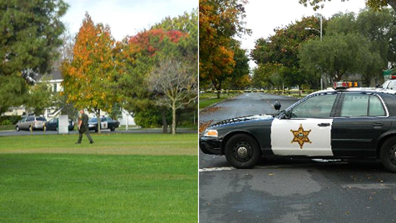 An Orange County sheriffs deputy (left) and patrol car (right) are shown near the scene where bottles with unknown substance were found in the Rossmoor neighborhood in Orange County on Sunday, Dec. 2, 2012.