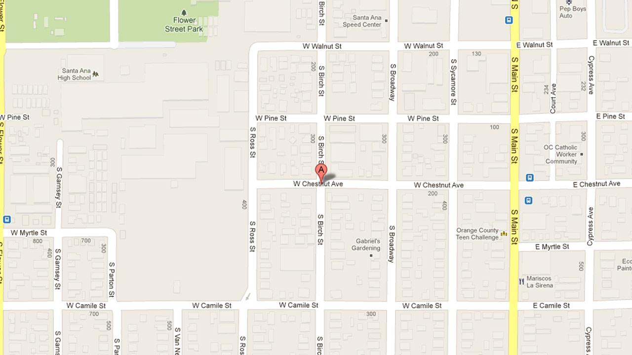 A map indicates the area in the 400 block of South Birch Street in Santa Ana where a 7-year-old girl was struck by a hit-and-run driver Tuesday, Dec. 4, 2012.