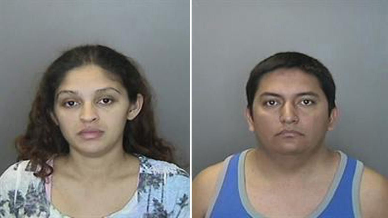 Irina Martinez, 27, of Santa Ana (left) and Andres Terrones, 28, of Anaheim (right) were arrested Monday, Nov. 3, 2012 for allegedly running a sex for hire operation out of several rooms at a Motel 6 located at 100 West Disney Way in Anaheim.