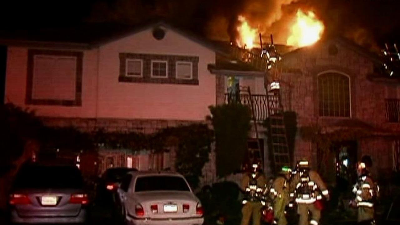 At least 45 firefighters battled a blaze at a Fountain Valley home on Tern Avenue on Tuesday, Jan. 8, 2013.
