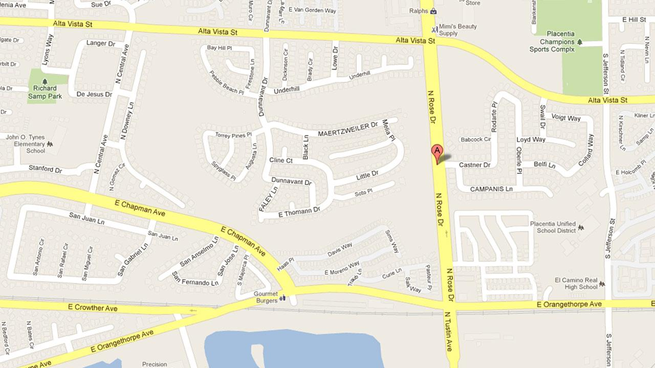 A map indicates the location where a 14-year-old was struck by a car and killed while trying to retrieve a skateboard on Friday, Jan. 11, 2013.