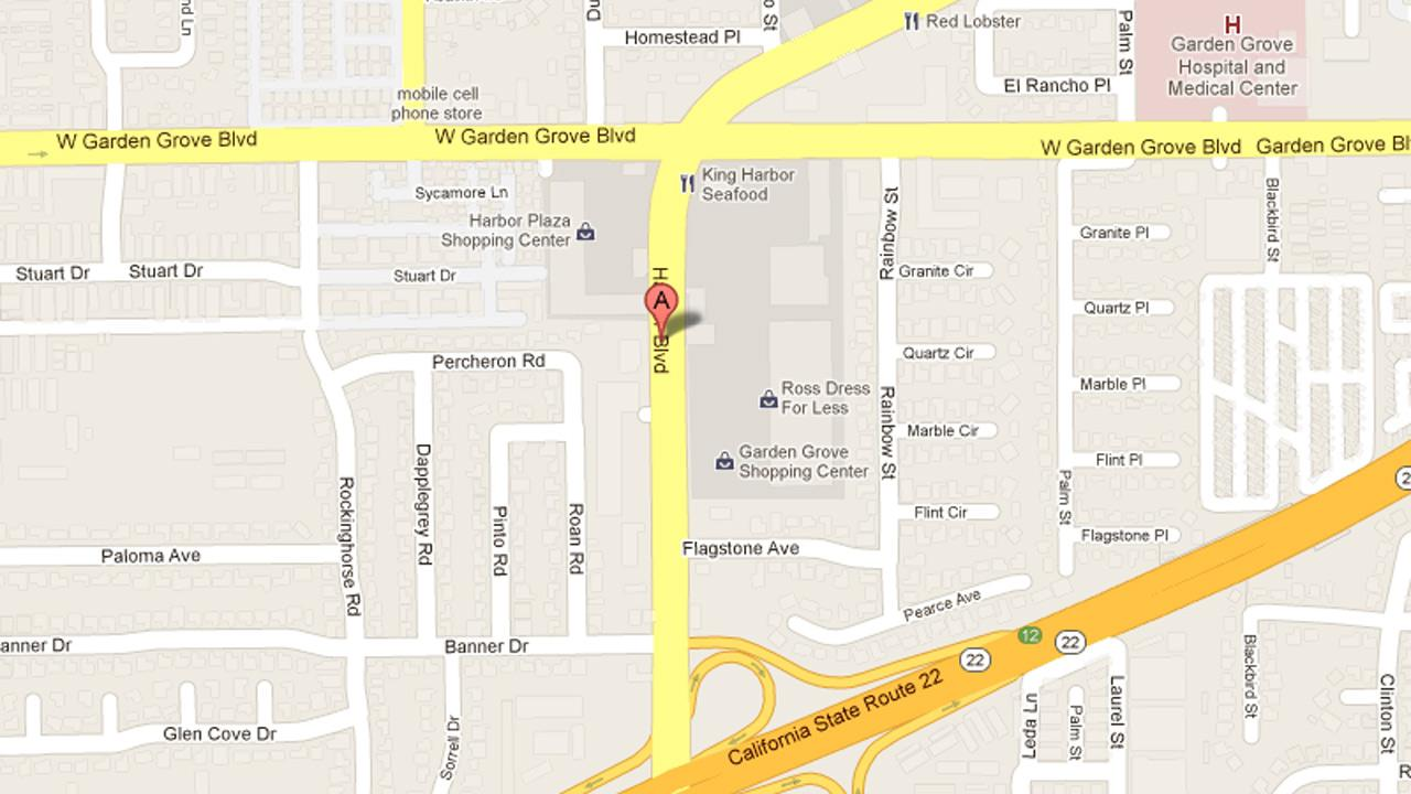 This Google Map photo shows the 13100 block of Harbor Boulevard in Garden Grove, where police say a stabbing took place on Thursday, Jan. 25, 2013.
