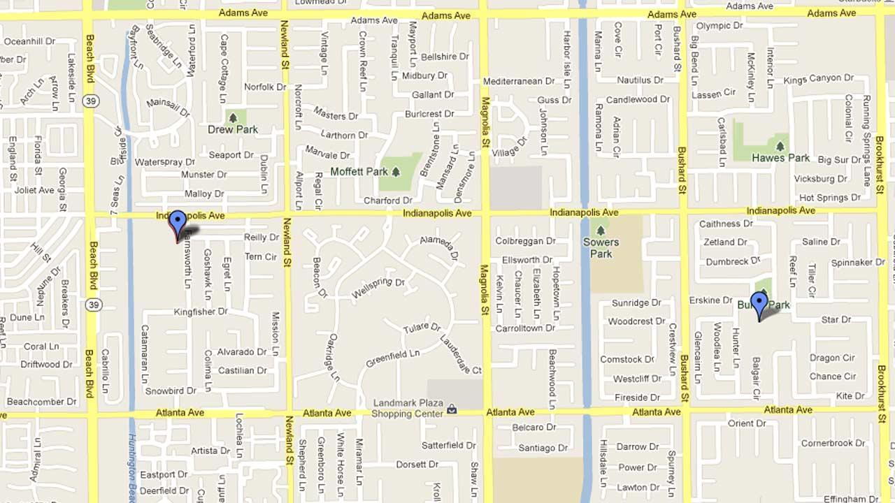 A map indicates the area near the Peterson Elementary tract and the Burke School tract in Huntington Beach where over 20 hot prowl burglaries and thefts from vehicles have been reported between Wednesday, Jan. 23, 2013 and Saturday, Feb. 2, 2013.