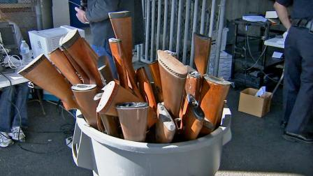 The city of Santa Ana held its first ever gun buyback event Saturday, Feb. 23, 2013. Officials say 236 weapons were surrendered in exchange for gift cards.