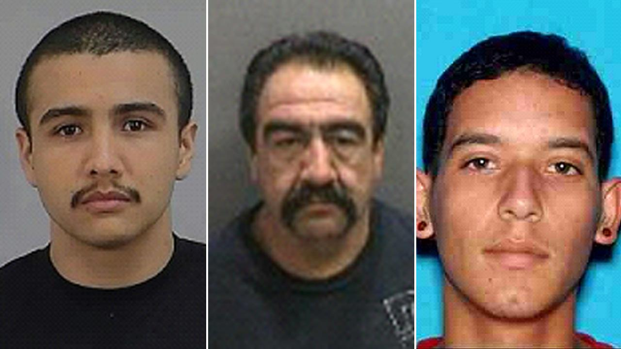 Mario Alberto Rodriguez, pictured left, his father Rigoberto Rodriguez, center, and Pablo Sanchez, right, were allegedly involved in a fatal stabbing in Santa Ana on March 9, 2013.