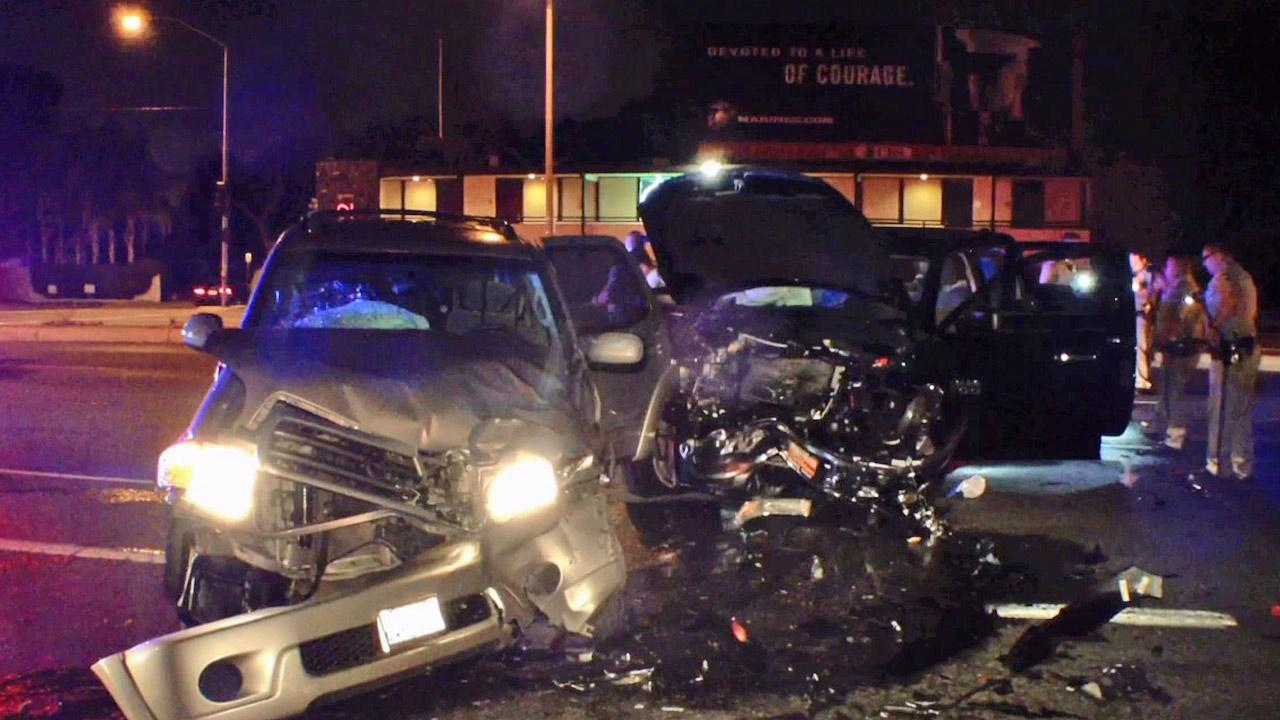 The scene of a car crash involving a suspected drunk driver who slammed into a CHP sergeants car is shown in this photo on Sunday, March 31, 2013.