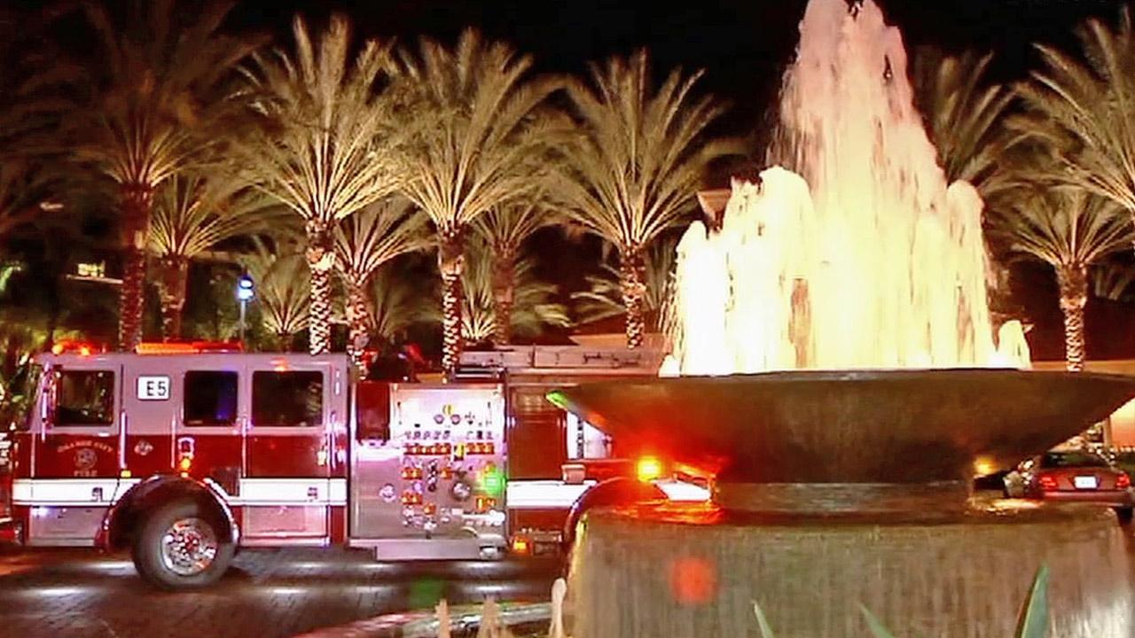A fire engine is shown at the scene of a fire that broke out at an apartment complex on State College Boulevard in Anaheim on Sunday, March 31, 2013.