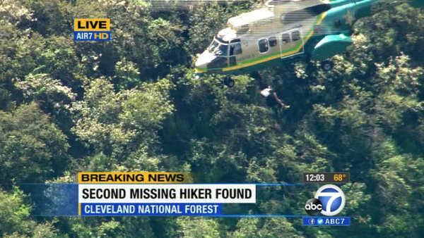 Missing hiker Kyndall Jack is rescued from the Cleveland National Forest in Orange County on Thursday, April 4, 2013.