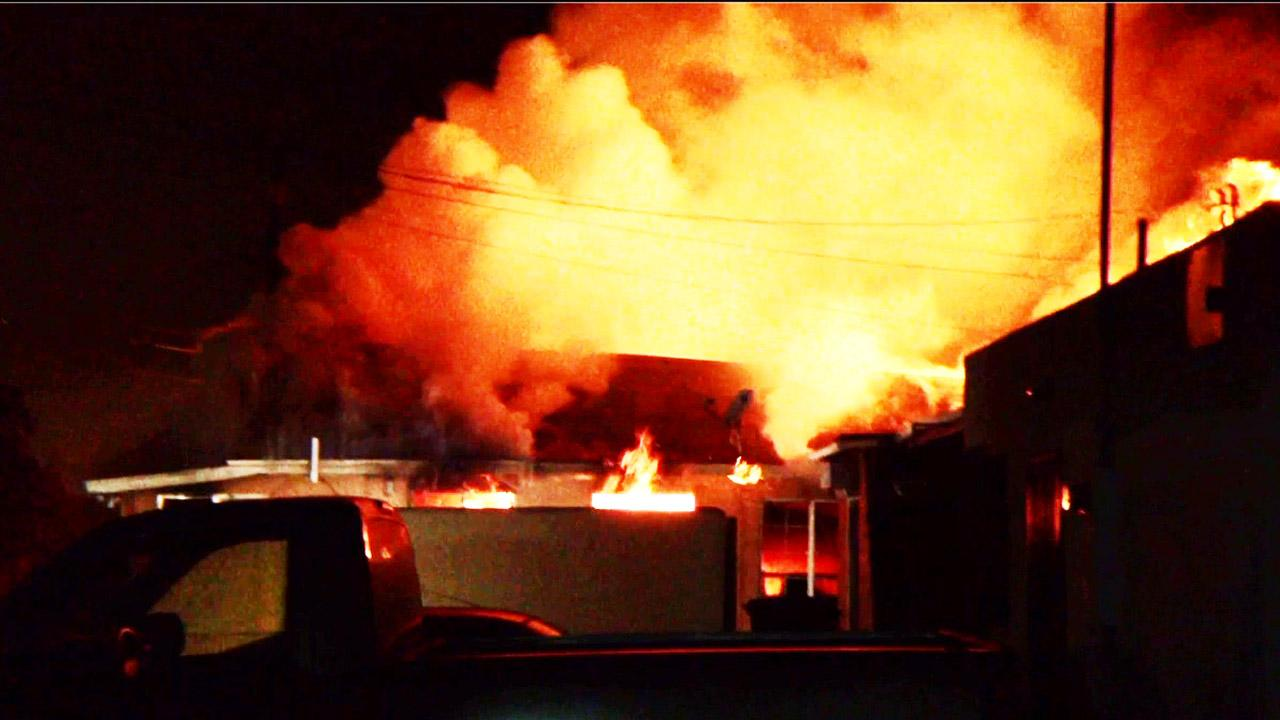 A two-alarm fire broke out at a house on the 300 block of West Santa Fe Avenue in Placentia Friday, April 12, 2013.