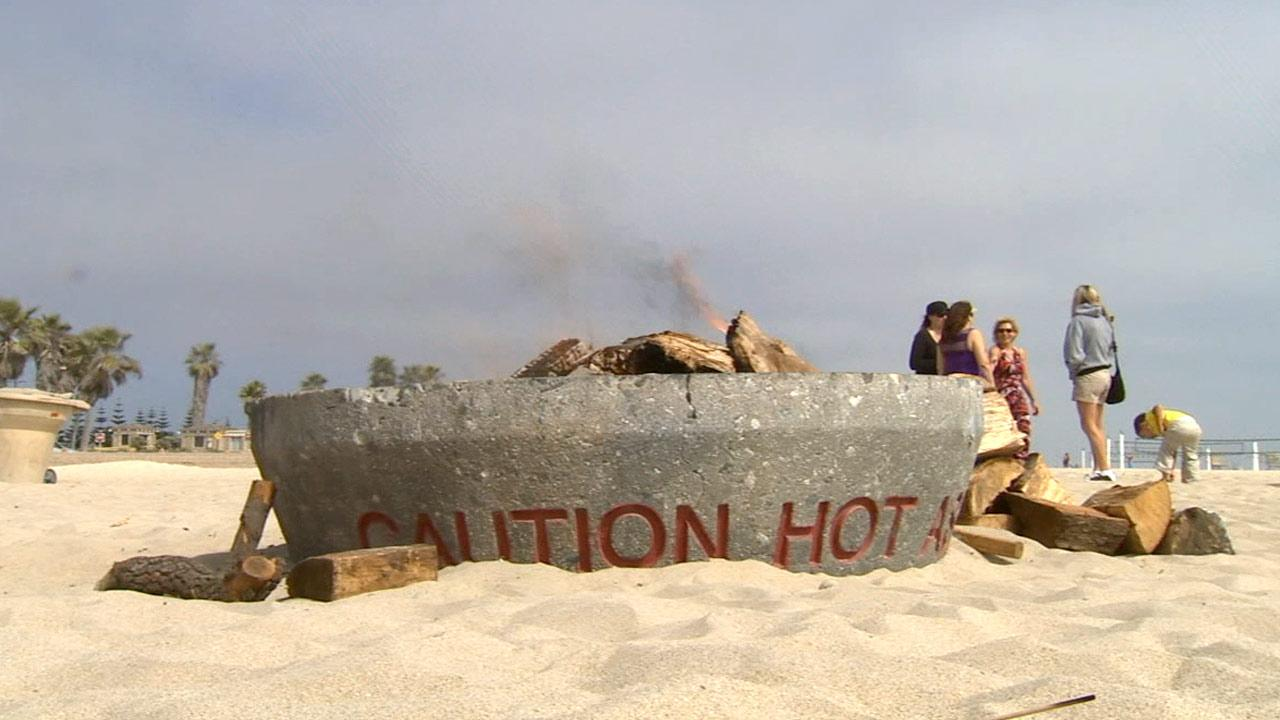 A bonfire lit in Huntington Beach on Sunday, April 28, 2013.