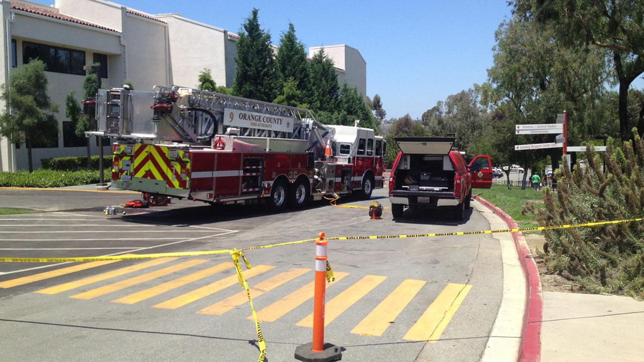 The Orange County Fire Authority responds to a fire at Saddleback College on Monday, July 8, 2013.