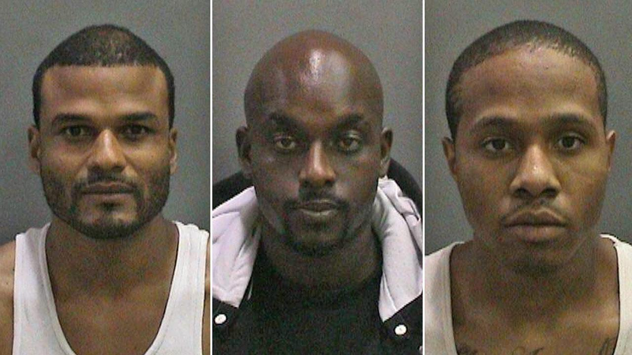 William Golightly, 35, of Los Angeles, Tesfaye Ringwood, 30, of La Habra and Kyle Robinson, 26, of West Covina are shown in booking photos provided by the Orange County Sheriffs Department.