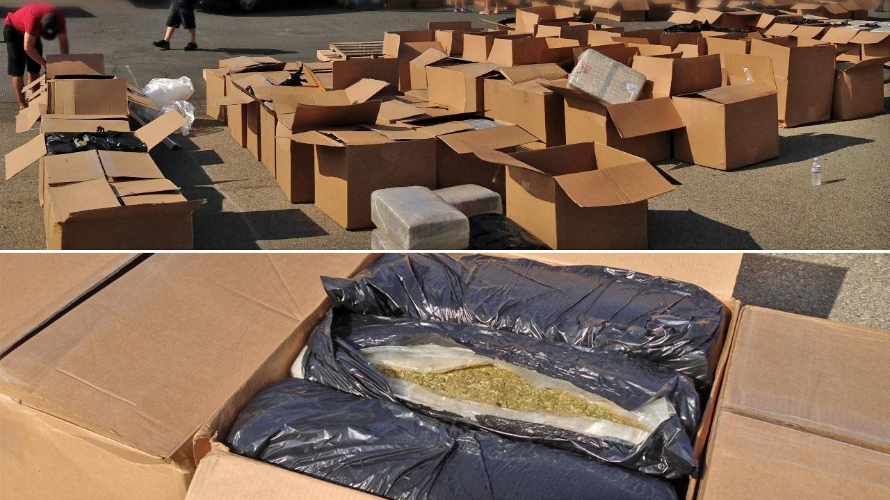 U.S. Border Patrol agents in San Clemente discovered a tractor-trailer containing more than 9 tons of marijuana. The truck contained 218 boxes filled with marijuana.