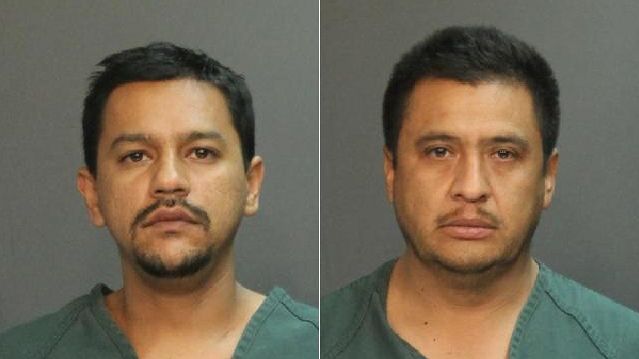 L.A. resident Jesus Garfias (L) and Whittier resident Pedro Lugo (R) were arrested and booked for commercial burglary Tuesday, Sept. 17, 2013.