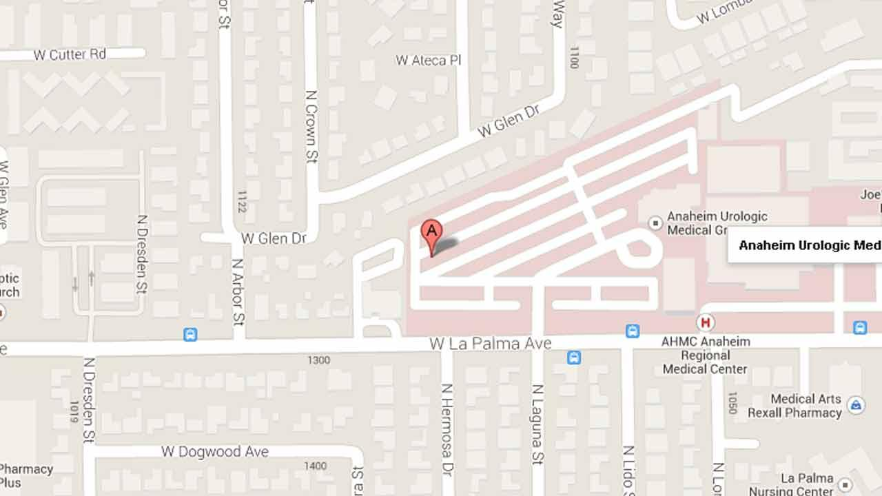 A map indicates the area near the Anaheim Regional Medical Center at 1111 West La Palma Avenue in Anaheim where a small fire broke out on Sunday, Sept. 22, 2013.