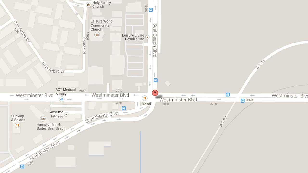A map indicates the area near a Subway restaurant in the 2300 block of Seal Beach Boulevard in Seal Beach where two armed suspect robbed the franchise at gunpoint Saturday, Oct. 12, 2013.