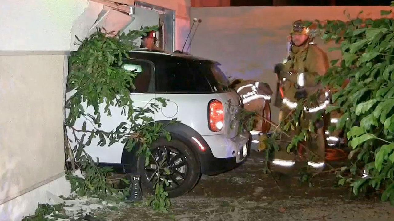 A car slammed into a Santa Ana mall on Friday. The driver was taken into custody, suspected of driving under the influence.