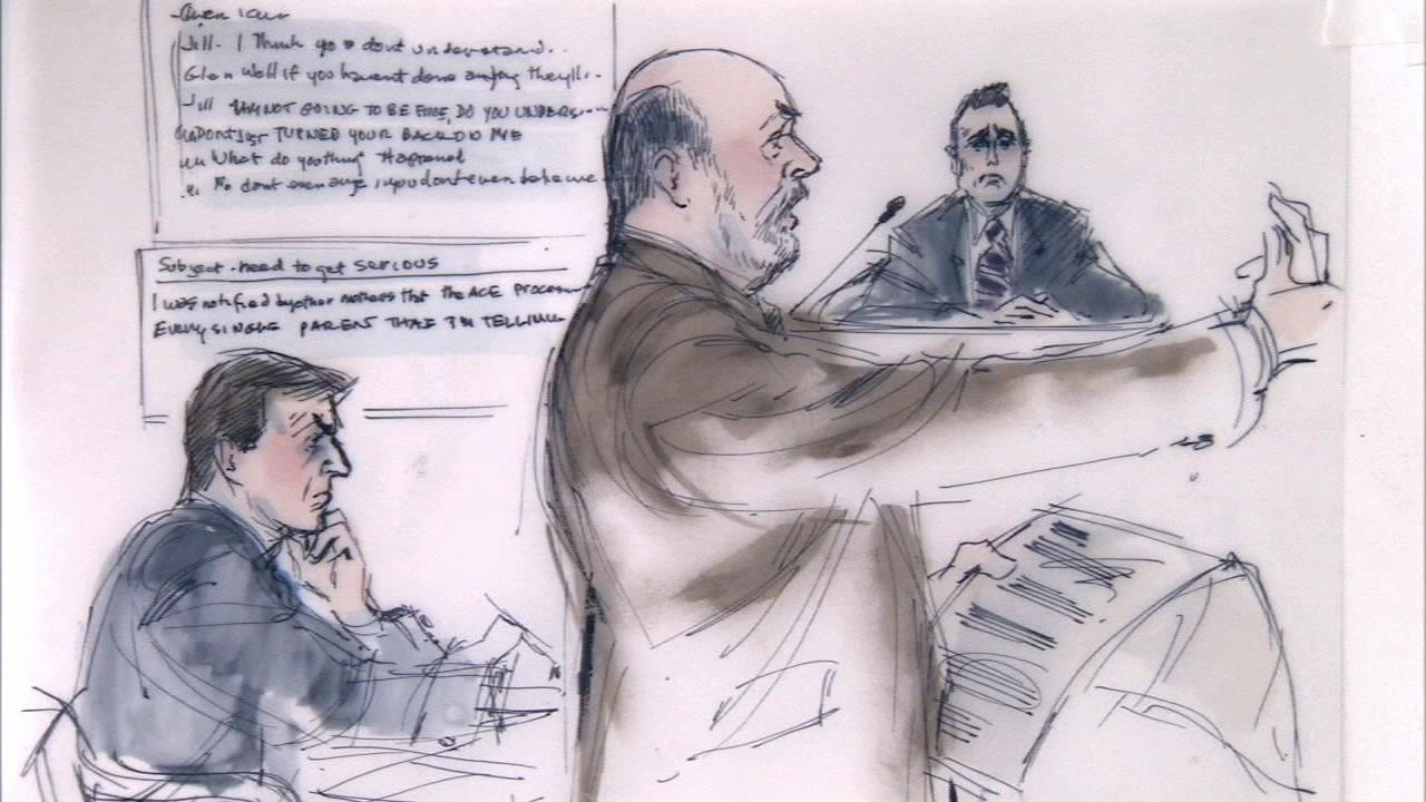 A courtroom sketch shows Kent Easter listening as an Irvine police officer testified during his trial on Tuesday, Nov. 12, 2013.