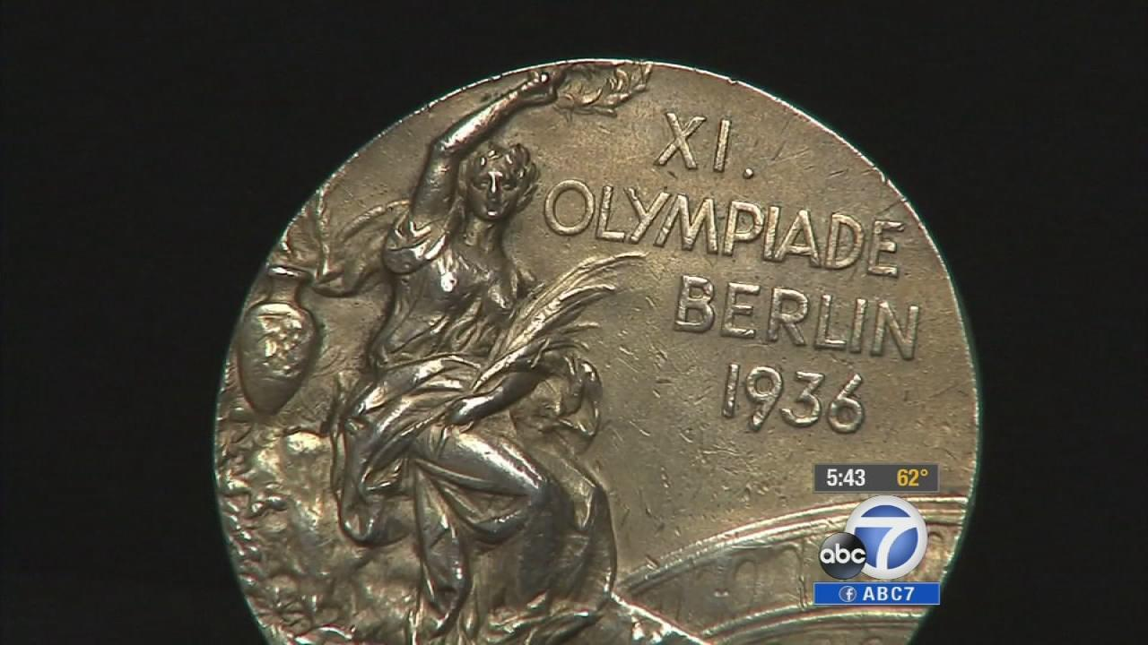 Sprinter Jesse Owens gold medal, which he won during the 1936 Olympics in Berlin, Germany, is seen in this undated file photo.