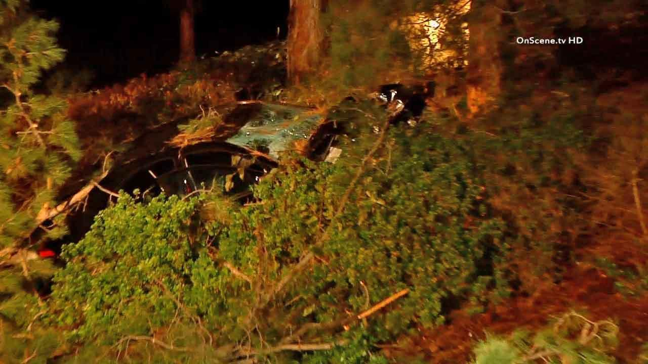 Five girls were injured when their car traveled down an embankment and hit a tree near Melinda Road in Rancho Santa Margarita Saturday, Dec. 7, 2013.
