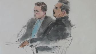 A courtroom sketch shows two former Fullerton police officers charged in the beating death of Kelly Thomas.