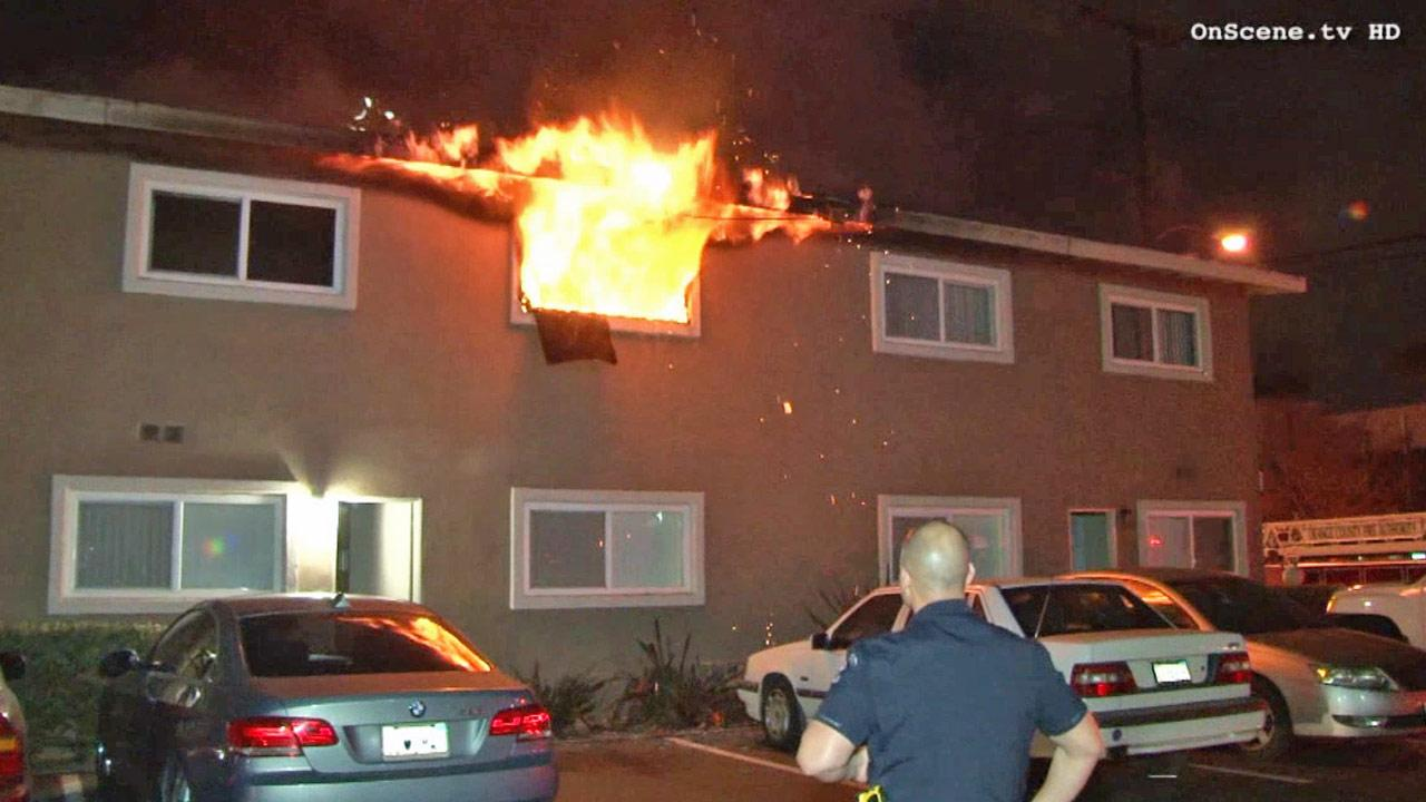 A fire broke out at a Buena Park apartment complex on Sunday, Jan. 19, 2014.