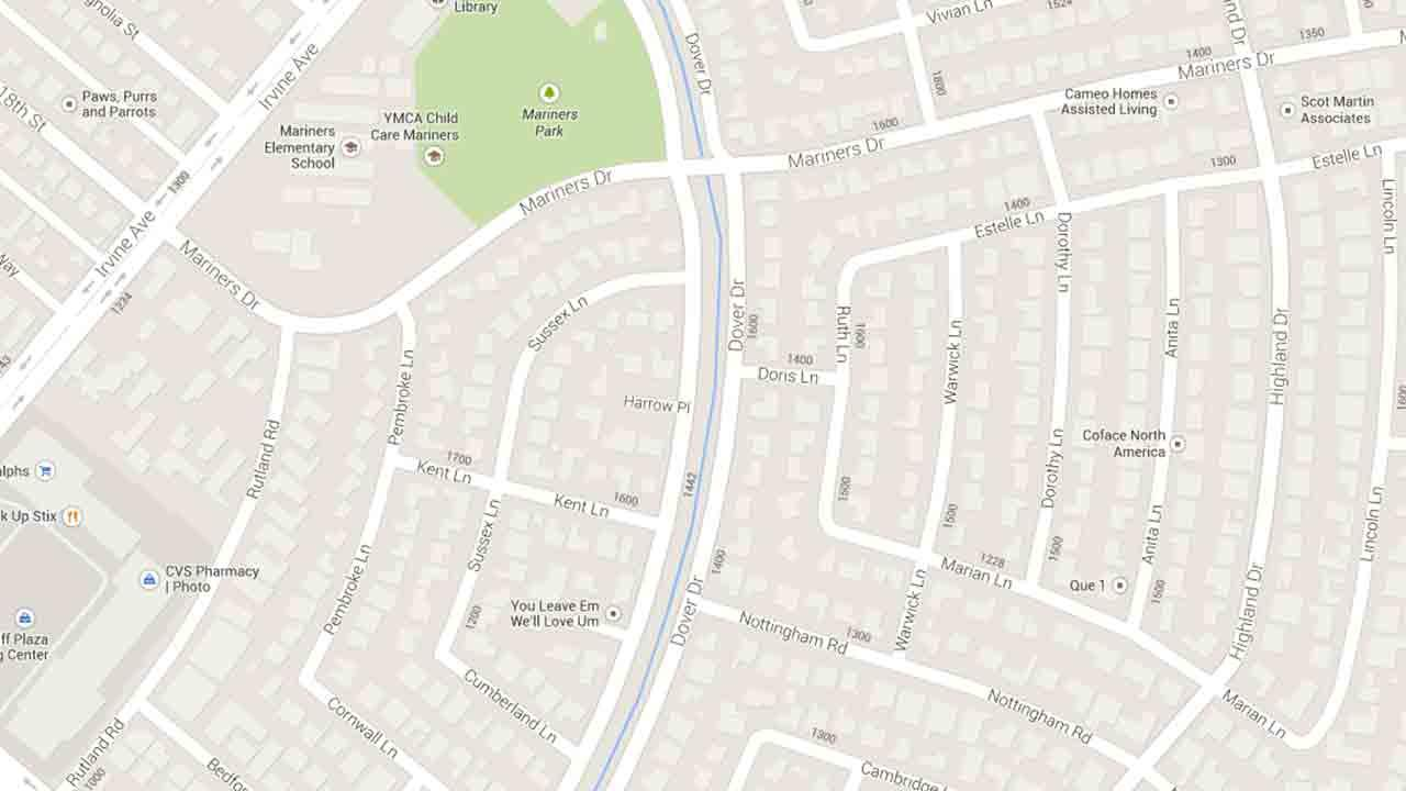 A map indicates the area near Dover Drive and Harrow Place in Newport Beach where a suspected drunken motorist slammed her vehicle into a light pole Saturday, Jan. 25, 2014.