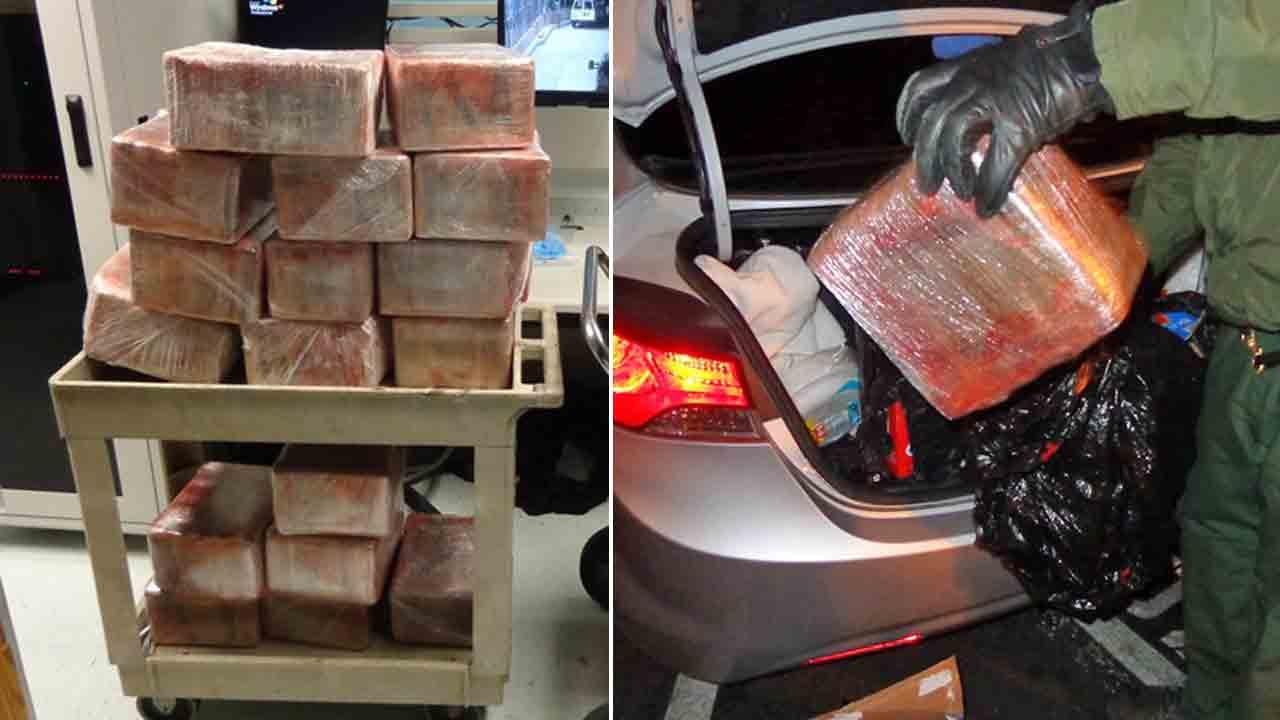 U.S. Border Patrol agents discovered $6.7 million worth of cocaine during an immigration inspection on the sole occupant of a 2011 Hyundai Elantra at the 5 Freeway checkpoint near San Clemente Friday, Jan. 24, 2014.