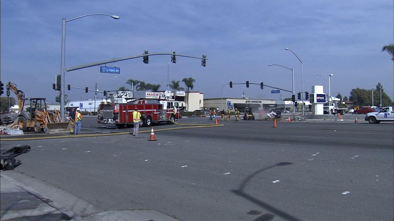 A gas leak in Anaheim forced officials to close streets at La Palma and Tustin avenues Tuesday, Feb. 18, 2014.