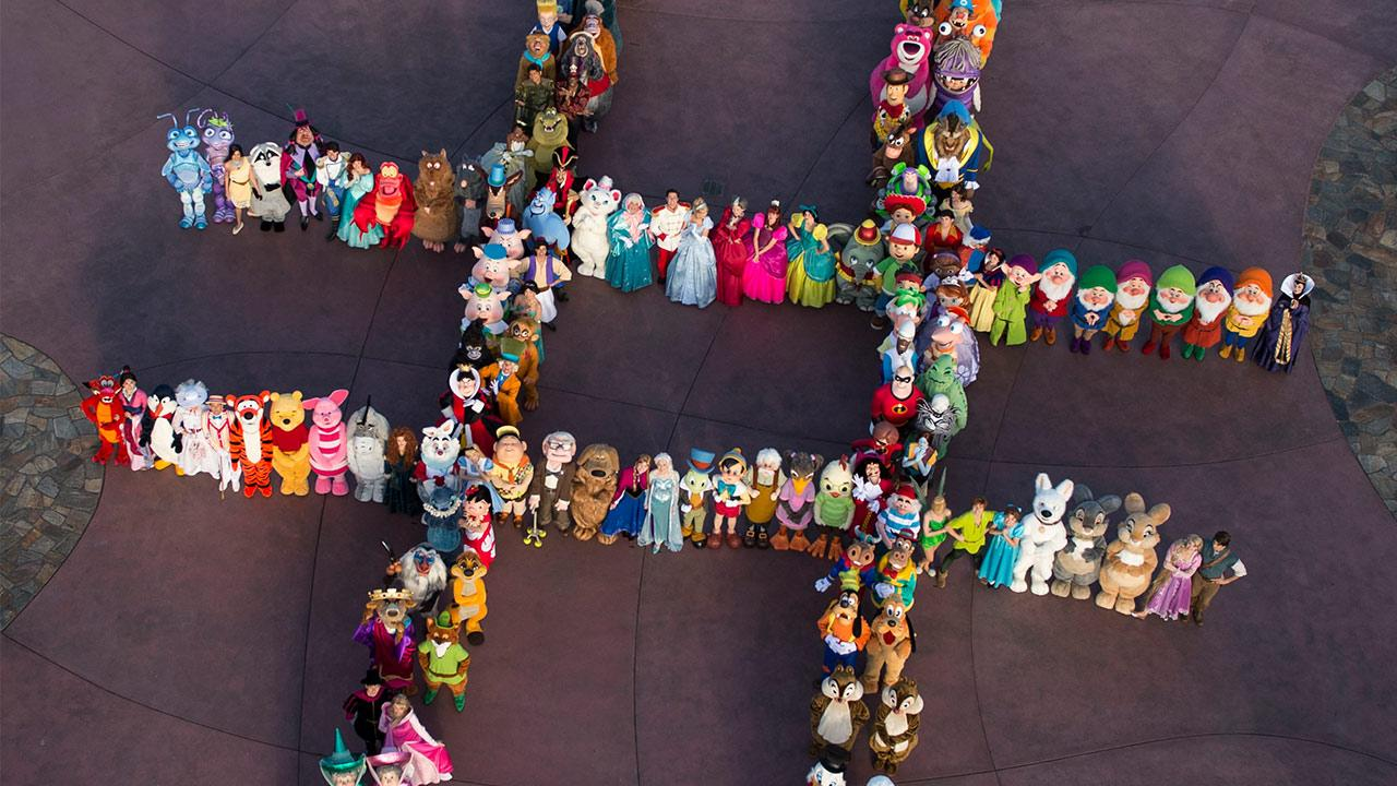 Disney Parks Tweeted this photo of 140 Disney characters in a hashtag formation to announce its 24-hour theme park event over Memorial Day 2014.
