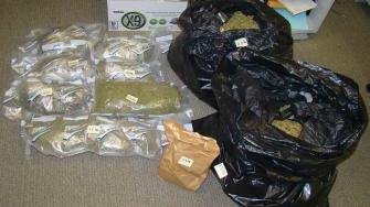 Isaac Greer, 33, of Costa Mesa was arrested after police found 50 pounds of marijuana after searching his car, storage unit and motel room.