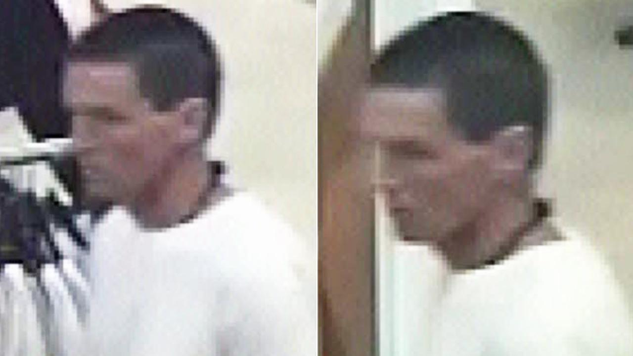 Surveillance images show a flashing suspect who exposed himself to a woman at the Brea Mall on Monday, March 10, 2014.
