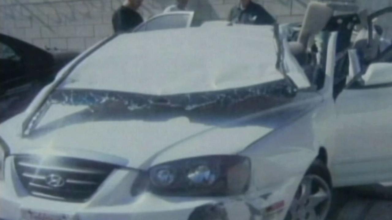 Deanna Mauers white Hyundai is shown after the April 27, 2011 crash that killed her.