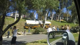 Authorities say nine people were injured in a school bus crash in Anaheim Hills Thursday afternoon.